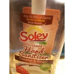 Soley instant Hand Sanitizer.Coconut and ginger scented with aloe