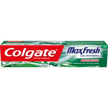Colgate Max Fresh Toothpaste with Mini Breath Strips, Clean Mint, 150 ml